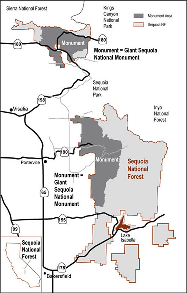 Location map of Giant Sequoia National Monument